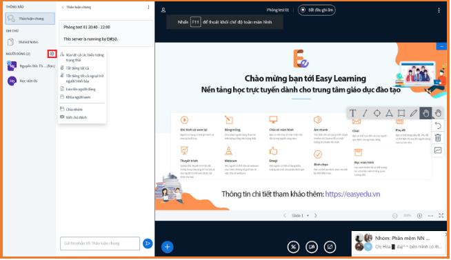 hướng dẫn sử dụng Stream Online trên phần mềm Easy Edu(3)