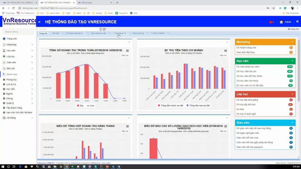 Phần mềm quản lý Trung tâm Ngoại ngữ  VnResource - EBM