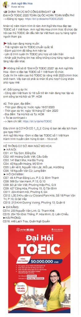 Trung tâm Anh ngữ Ms Hoa. Mẫu content quảng cáo Facebook chất lượng