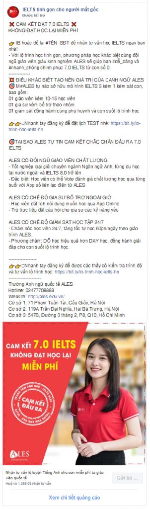 Trung tâm ngoại ngữ ALES. Mẫu content quảng cáo Facebook chất lượng
